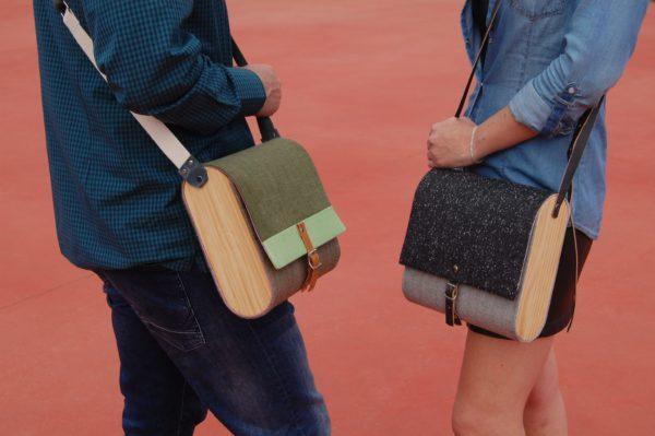 Bolsos de madera Bolso de tela y madera modelo Unisex verde y gris
