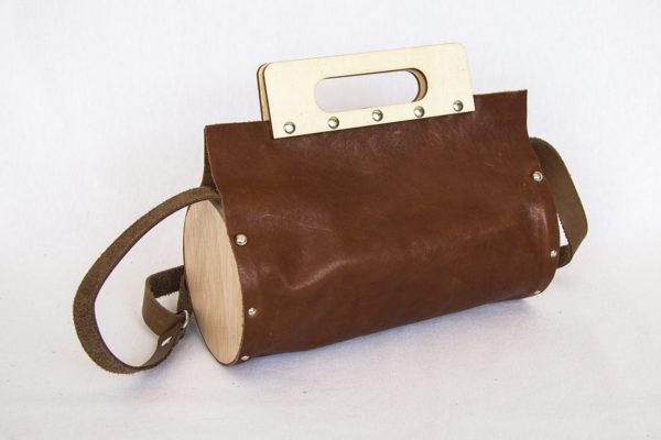 Bolsos de madera Bolso de piel y madera redondo de color pino negro con madera