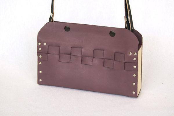 Bolsos de madera Bolso de piel y madera modelo Cembra mini violeta
