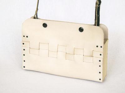 Bolsos de madera Bolso de piel y madera modelo Cembra mini crudo