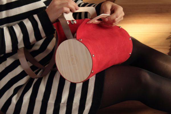 Bolsos de madera Bolso de piel y madera modelo Mugo rojo