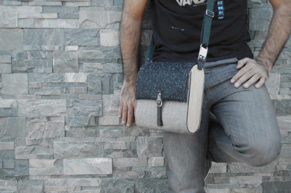 Bolsos de madera Bolso de tela y madera modelo Unisex gris