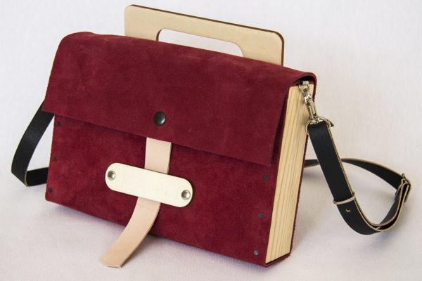 Bolsos de madera Bolso de piel y madera modelo Glabra granate