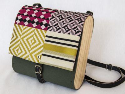 Bolsos de madera Mochila de tela y madera modelo Mosaico verde y estampado mosaico