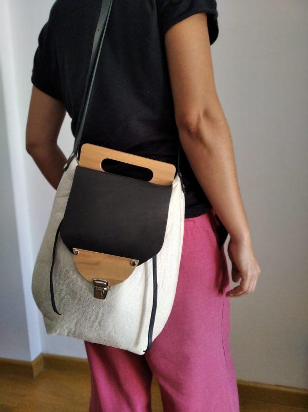 Bolsos de madera Bolso de tela y madera modelo Petate Blanco