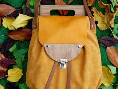 Bolsos de madera Bolso de tela y madera modelo Petate color mostaza