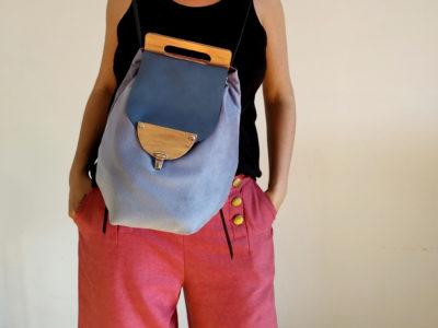 Bolsos de madera Mochila de tela y madera modelo Petate Azul