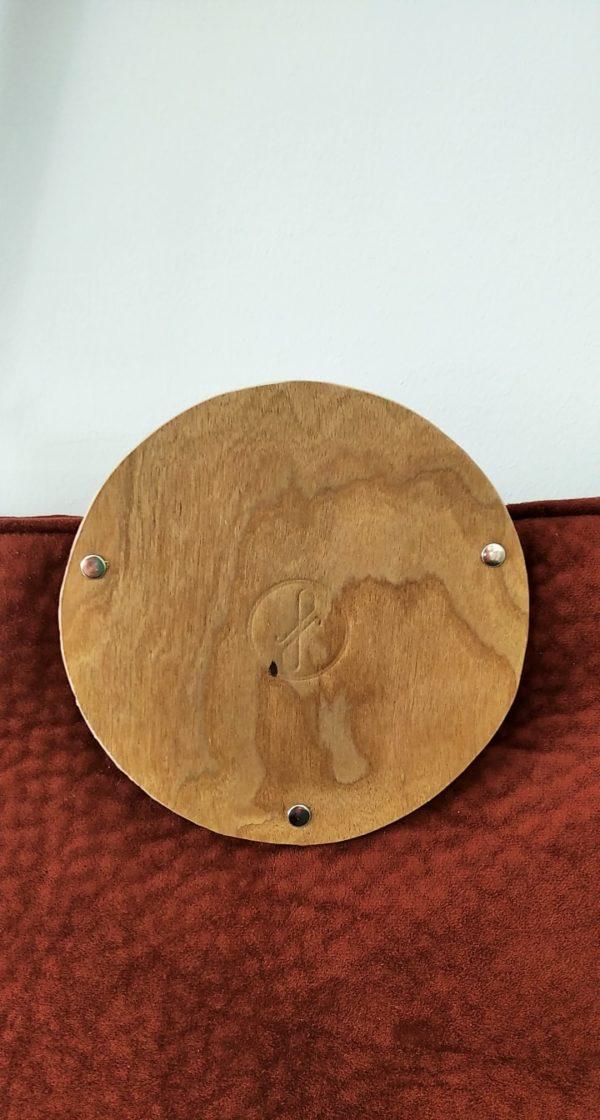 Bolsos de madera Bolso de tela y madera modelo Albura Granate