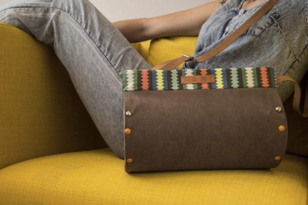 Bolsos de madera Bolso de tela y madera modelo Nigra